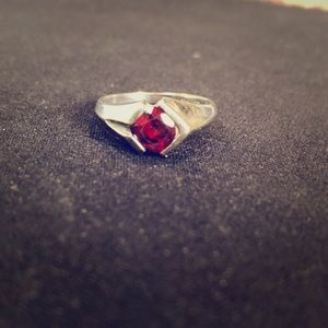 Sterling silver + red garnet ring